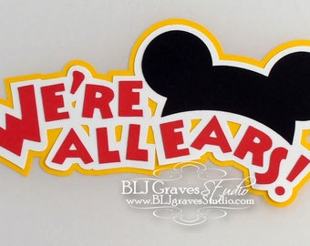 Premade Paper Piece Title Die Cut for Scrapbook Page All Ears Mouse Vacation Summer Handmade 32