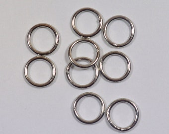 8mm Closed Jump Rings - Rhodium - Choose Your Quantity