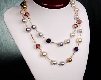 2-way Multicolor bead and pearl necklace with color stones