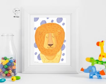 Lion  Watercolor -  Kids room - Digital Printable Art