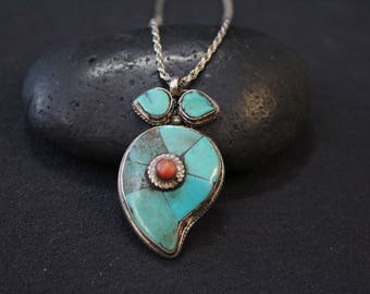 Sterling Silver and Coral Inlay Necklace, Tribal Inlay Jewelry, Sterling Silver and Coral Necklace, Turquoise Inlay Pendant, Antique Coral