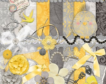 Yellow and Gray Digital Scrapbook Kit, grey & yellow papers, shabby cottage chic wedding invitations, baby announcements, frames, nursery
