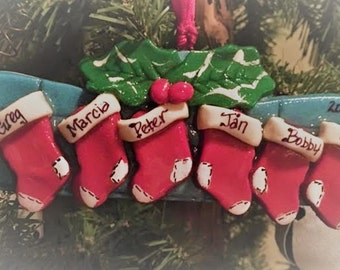 Personalized Stocking Dough Ornament 2 to 6 names