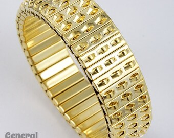 Gold Tone Metal Stretch Bracelet #BRG013