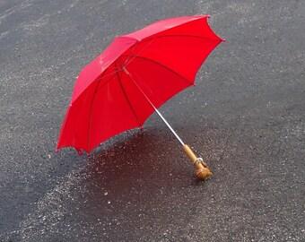 vintage kids umbrella,red umbrella shade,retro small wood umbrella