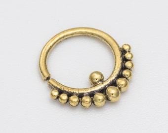 18g tribal gold septum ring for pierced nose. septum piercing. septum jewelry. 18g septum. brass septum ring. tribal septum ring.