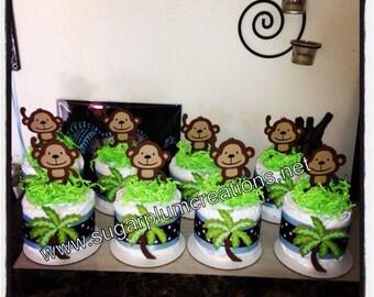 Set of 4 Girl Monkey Diaper Cake Minis baby shower or