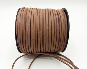 3 m Brown cord - 3 mm * 1.4 mm - Brown jewelry cord - A177