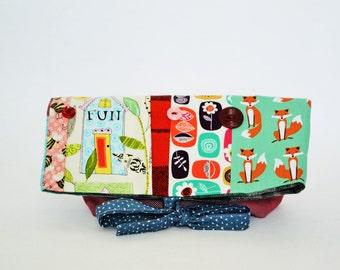 Pencil case, Foldover, foldover clutch, foldover bag, foldover clutch, shabby chic,foldover patchwork, pouch, bag fox,pencil, makeup, bag