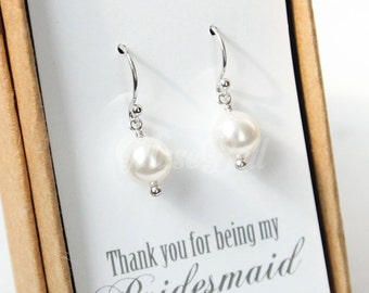 White pearl earrings, Swarovski pearl earrings, Bridesmaid Earrings, Pearl dangle Earrings, Bridesmaid gift, Wedding pearl earrings