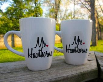 Mr. and Mrs. Square Coffee Mug Set- With Last Name