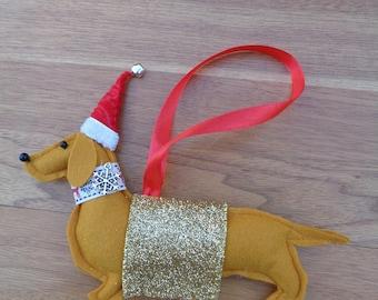 Handmade ginger-brown felt Christmas Dachshund, Sausage dog hanging decoration