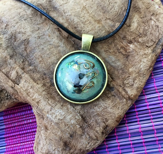 Astrology Orgone Energy Amulet- Orgone Energy Pendant- Adventurine Alchemy Orgone Necklace- Empath Protection- Sacred Geometry Talisman