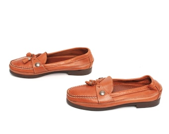 size 8.5 OXFORD tan leather 80s 90s TASSEL slip on MOCCASIN loafers