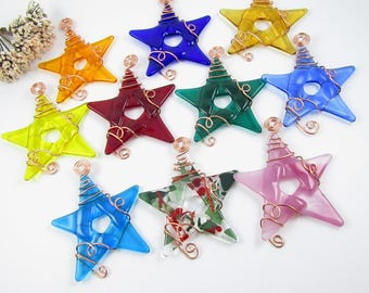 10 Fused Glass Star Ornaments Wrapped With Copper Wire - Your Choice of Colors - Colorful Glass Star Christmas Ornaments Handmade Glass Star