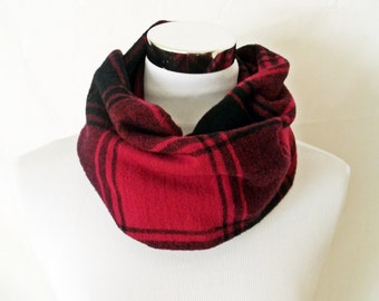 Red Tartan Flannel Infinity Scarf - Circle Scarf in Cotton Plaid Loop Scarf Cowl for Him or Her