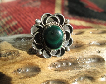 Sterling with Malachite Green Ring Size 6.5