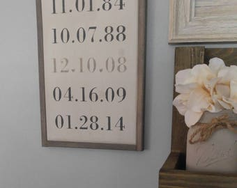 """Important Dates Family Rustic Wooden Sign 12"""" x 9"""" wall hanging/ Date/ Wedding/ Anniversary / Birthday / Kids"""