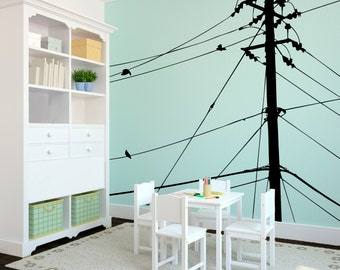Wall Decal Custom Vinyl Art Stickers - Power lines and Birds