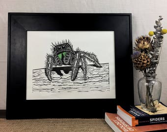 Phidippus Jumping Spider Hand-Pulled 11x14 Linoleum Block Print