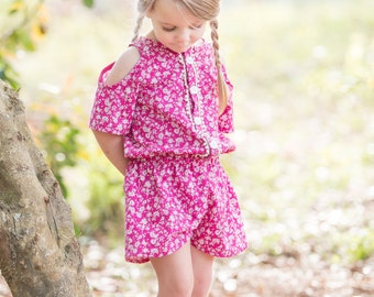 Monterey Romper PDF Sewing Pattern, including sizes 12 months - 14 years, Girls Romper Pattern