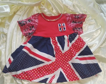 Upcycled 3-6 months union jack dress with diamonte detail