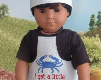 I Get a Little Crabby Apron and Chefs Hat for American Girl