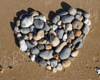 Pebble heart on sand Digital download