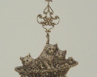 Vintage Pendant - Vintage Brass - Cat Pendant - Kitten Pendant -DIY Necklace
