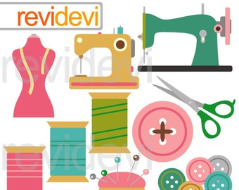 Hobby clip art / Sewing clipart - sewing machine, thread, buttons, scissor clipart - Sew Creative digital clipart, crafting