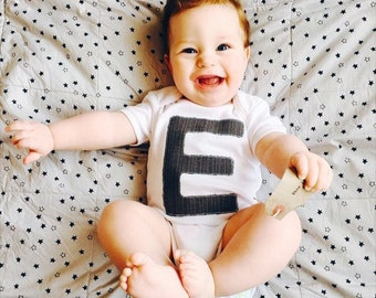 Infant initial shirt, custom alphabet bodysuit, baby boy letter outfit, initial applique, monogrammed kids, personalised babywear