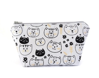 Cute cat makeup bag, Zipper pouch, Cat lover gift, Travel make up bag, Small project storage bag, Kawaii kitten gifts for cat lovers