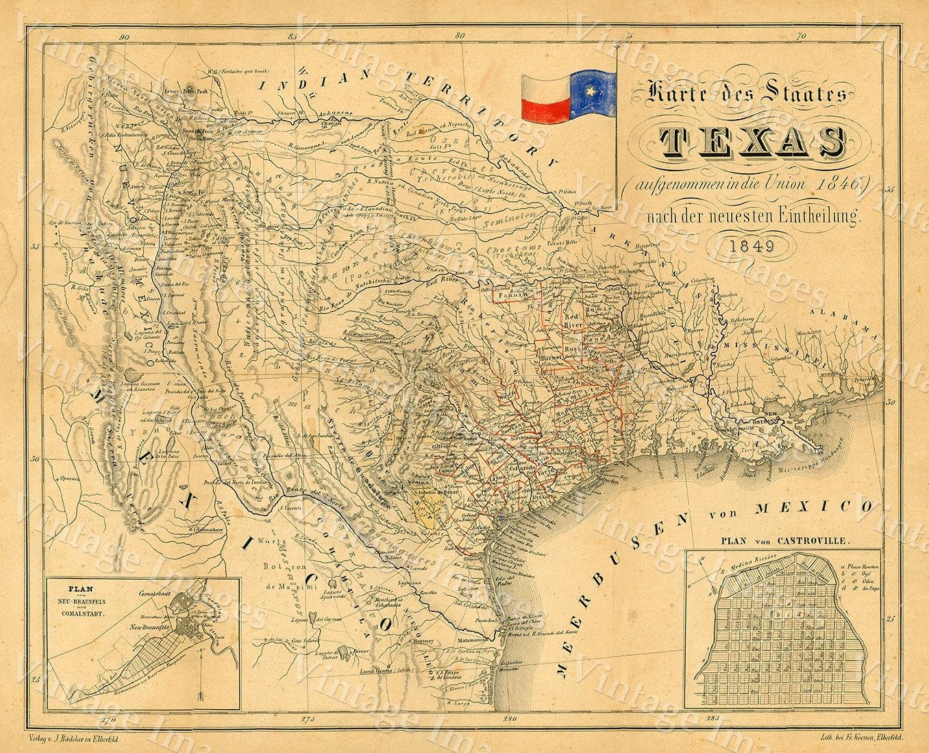 Vintage texas maps
