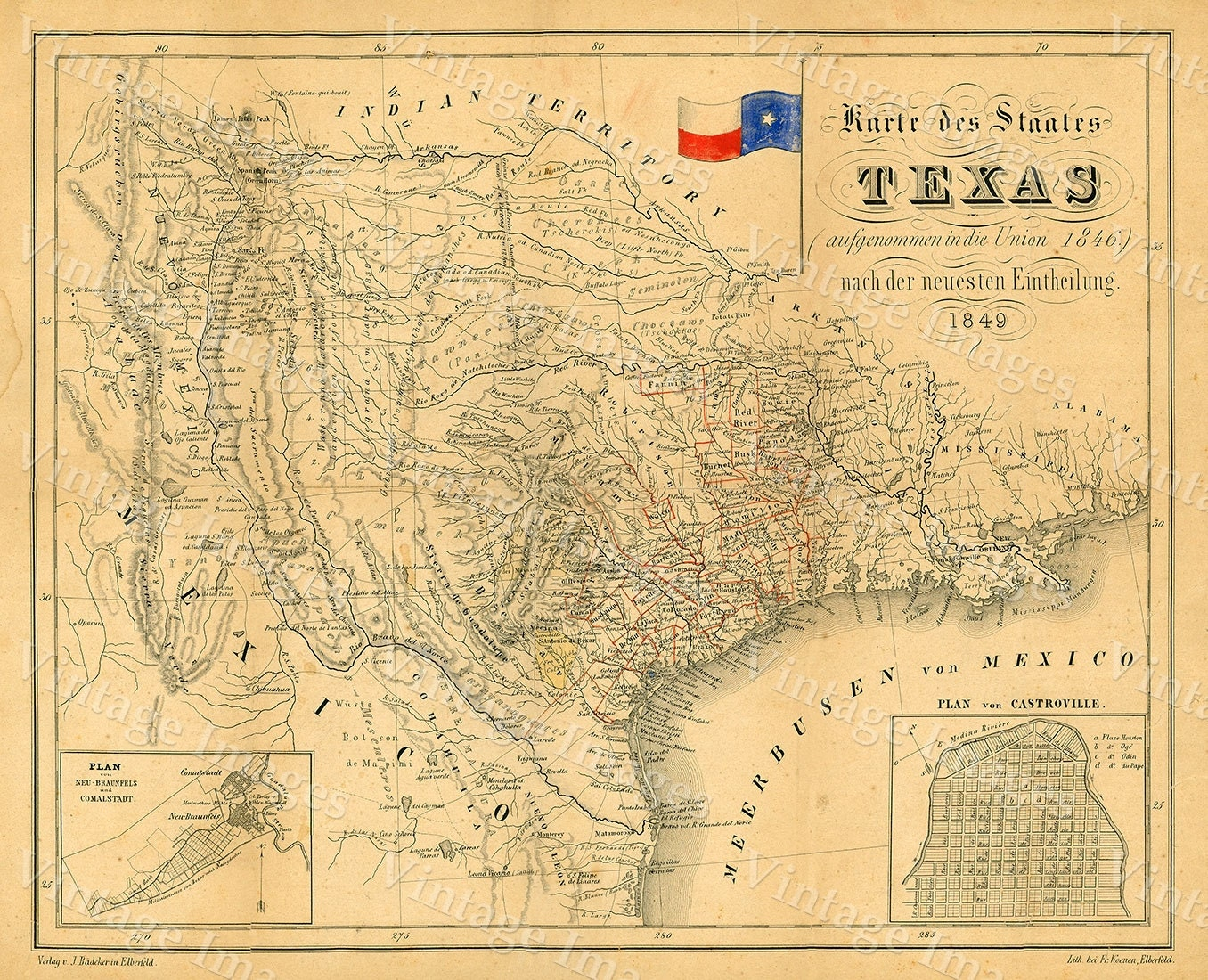 1849 Map of Texas Old Texas Map TEXAS Map of Texas Vintage
