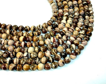 Brown Zebra Jasper Beads, 8 mm(8.4 mm) Round Beads, 15.5 Inch, Full strand, Approx 48 beads, Hole 1 mm, A quality (173054003)