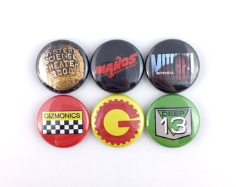 "MST3K Mini-Collection - Planet Logo • Manos Hands of Fate • Mitchell • Gizmonics • Deep 13 - 1"" Button Pin Set"
