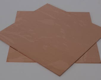 "Copper Sheet 6"" square."