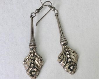 long sterling repousse earrings