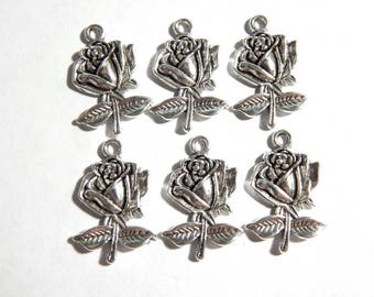 26mm Antique Silver Rose Charm Pendants, 6 PC (INDOC137)