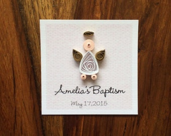 12 Baptism Gift Tags, First Communión Gift Tags, Christening Gift Tags, Favor Tags, Personalized Quilling Art.