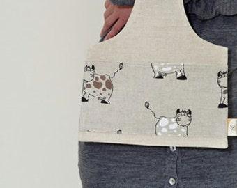 Knitter MINI Project Bag HAPPY COW, Great bag for socks knitters. Special KnitterBag design. Gift for knitter
