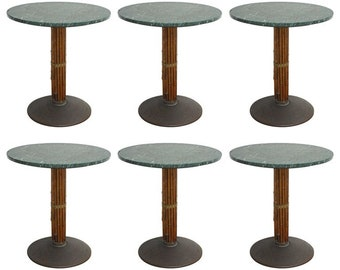 Set Of Six McGuire Bamboo And Marble Bistro Tables