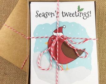 Pack of 10 Christmas Cards - Season's Tweetings