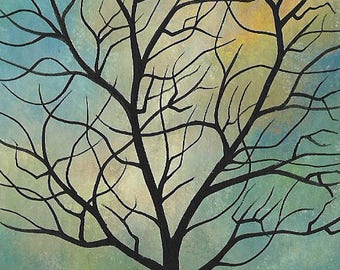Original ACEO Painting. Tree in Blue Sky. Artist Trading Card, ATC. Michael Francis Brown