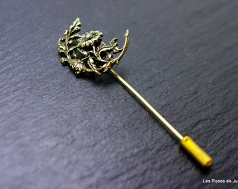 Flowers, brooch, bronze, art deco pin