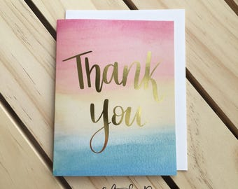 thank you Card, watercolor thank you card, gold foil thank you Card, wedding card. Congraulations Card, thanks Card, Card for Mom