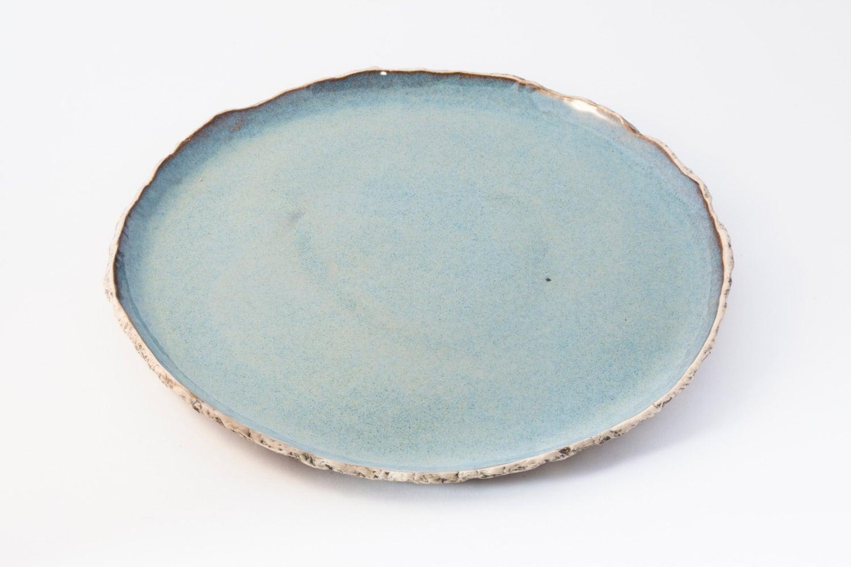 ?zoom & Blue dinnerplate Blue ceramic plate Handmade dinner plate