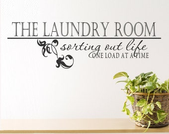 """Wall Decal Laundry Room Decor Laundry Room Decal Laundry Sign Vinyl Decal """"Laundry Room: Sorting out Life"""" Vinyl Lettering Laundry Stickers"""