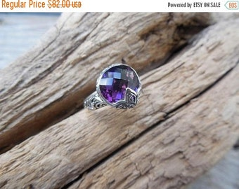 ON SALE Beautiful deep purple amethyst ring handmade in sterling silver