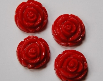 Red Etched Flower Cabochon 20mm cab466B